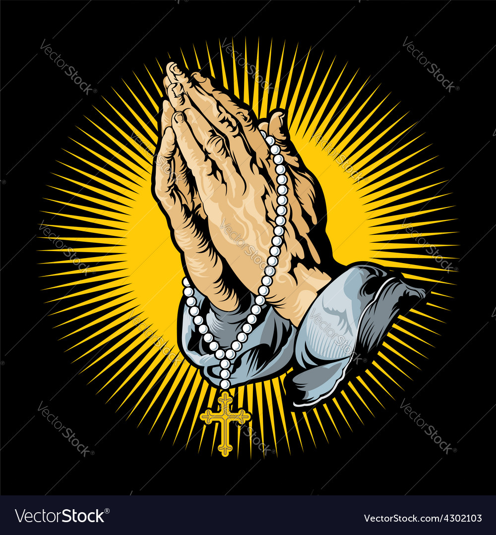Praying hands with rosary and shining