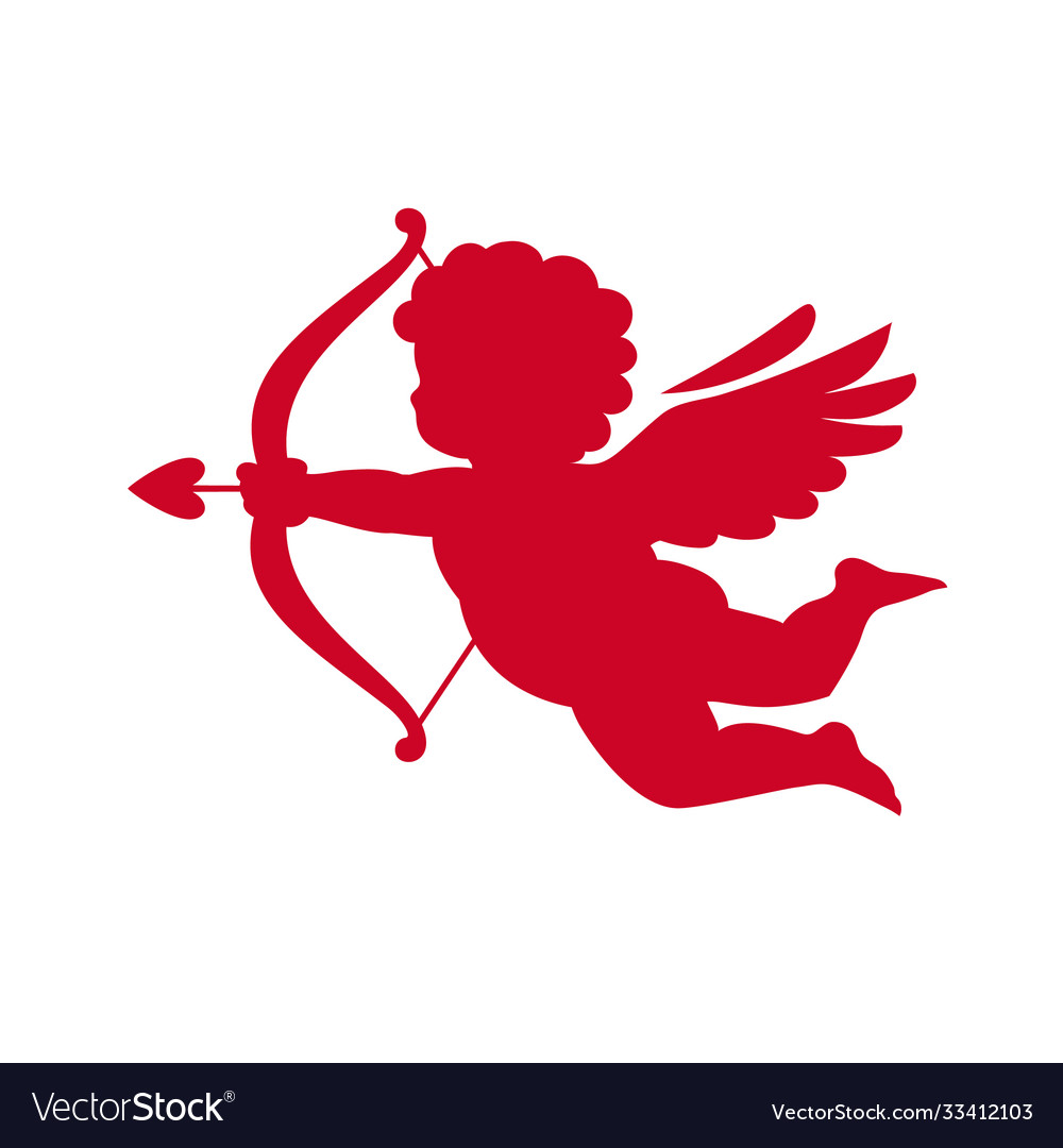 Red silhouette cupid aiming a bow and arrow