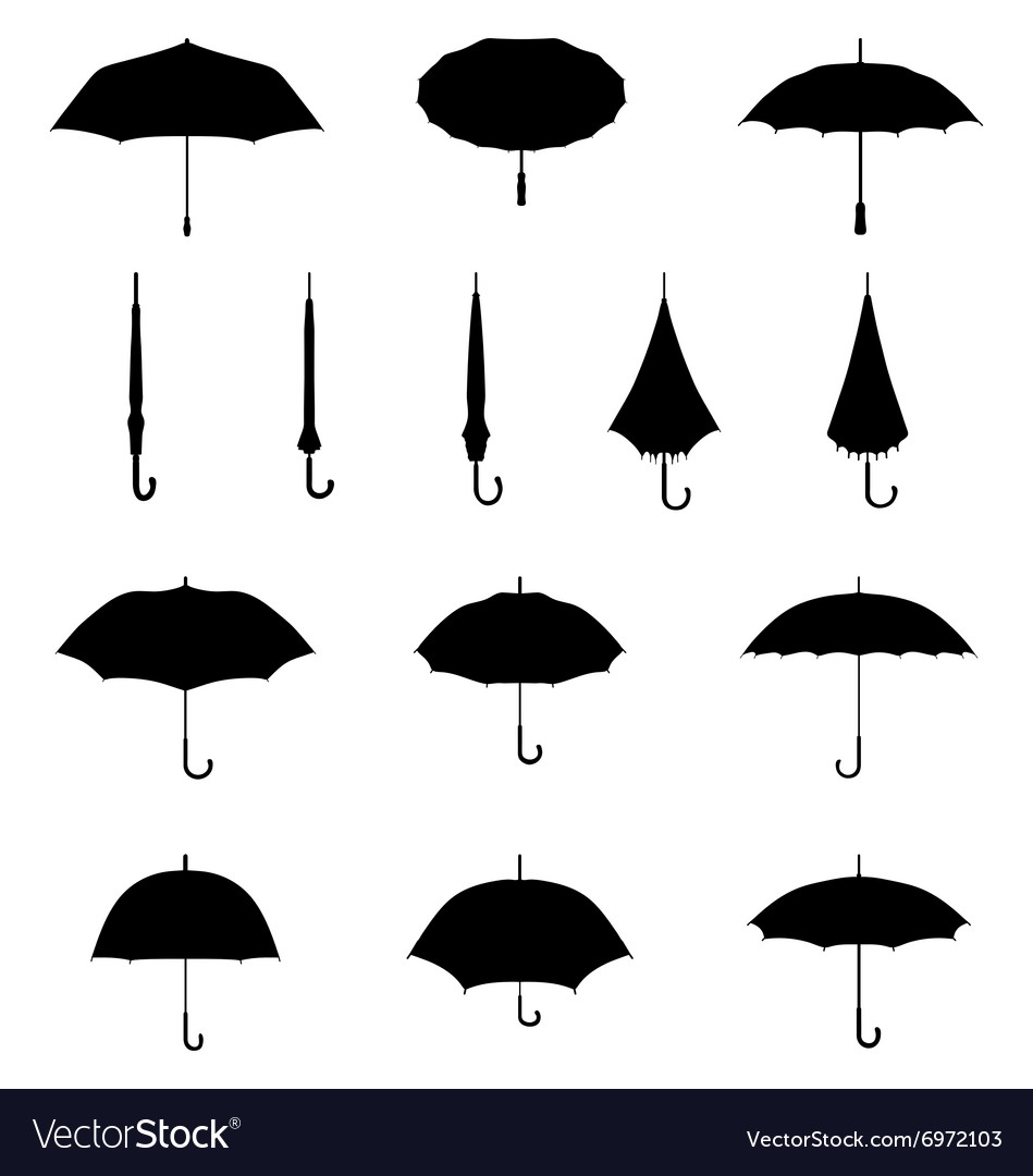 Silhouettes of umbrellas