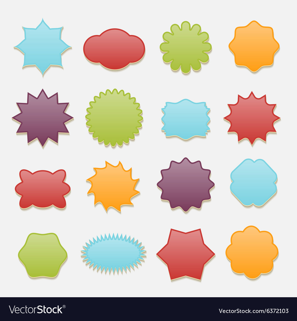 Sticky badges stars and clouds tags set