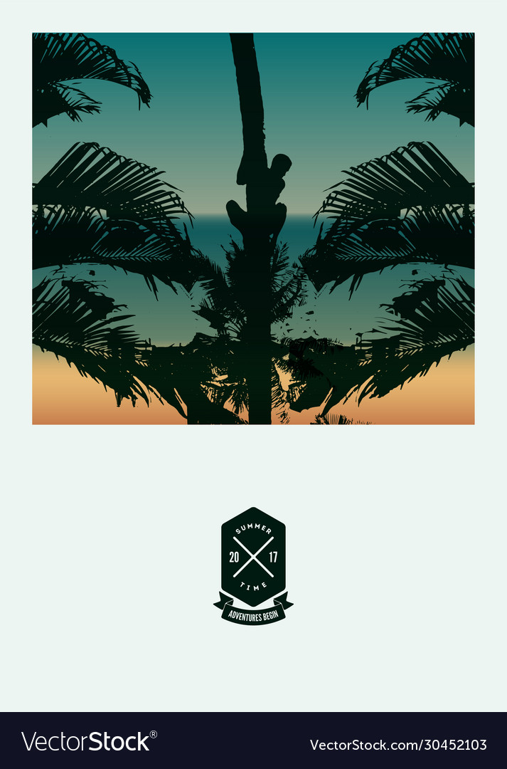 Summer beach poster with a man on a palm tree