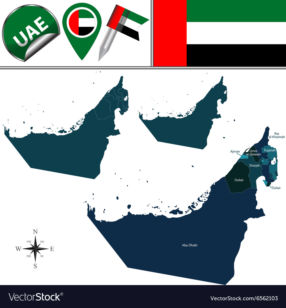 United Arab Emirates map with named divisions