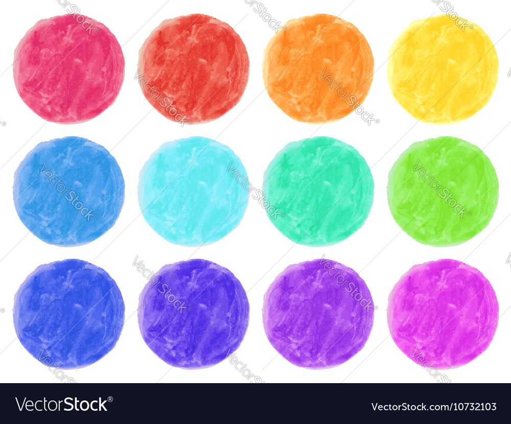 Watercolor circles isolated on white