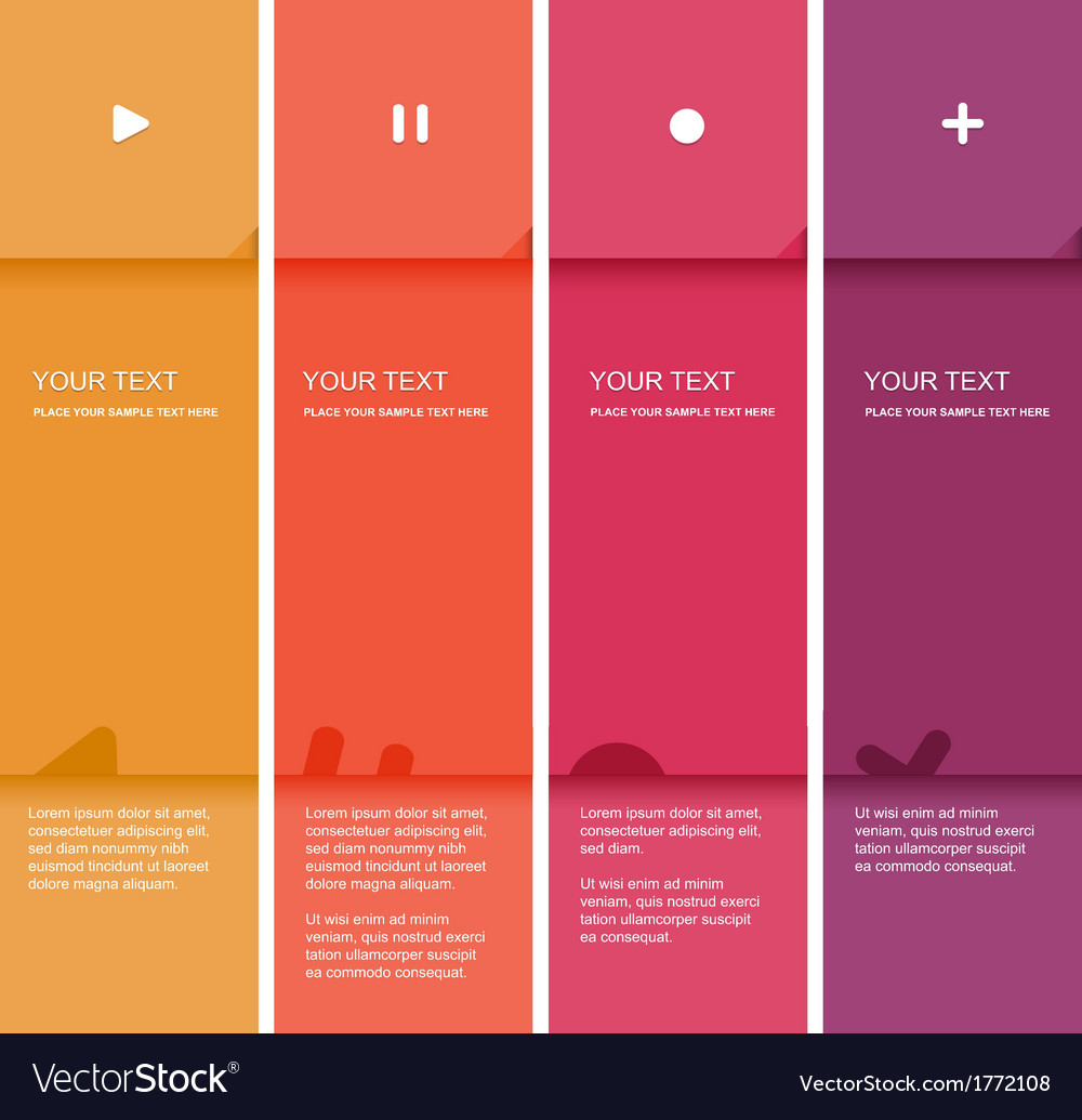 4 color flat design template vector image