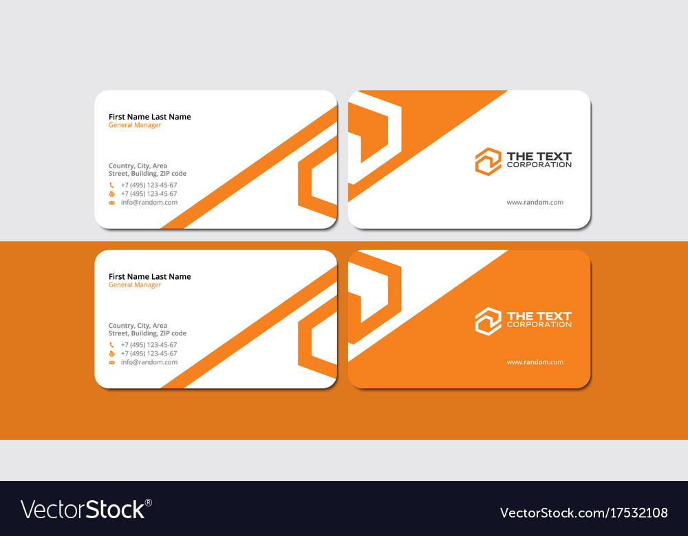 Best orange business card royalty free vector image best orange business card vector image reheart Images