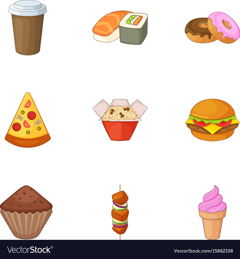 Breakfast in fast food icons set cartoon style vector image