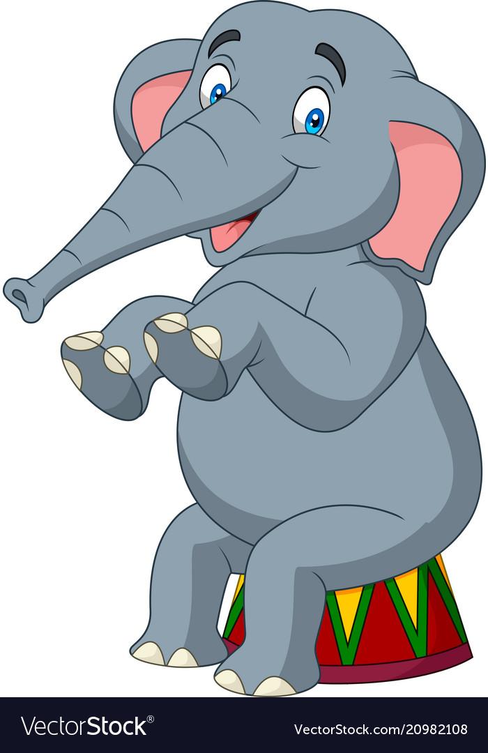 Cartoon cute elephant sitting vector image