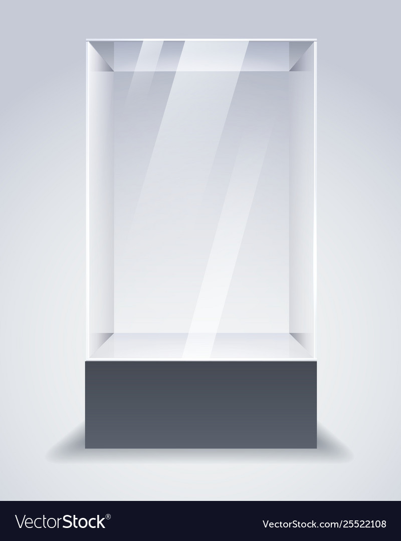 Empty Glass Cabinet Royalty Free Vector Image Vectorstock