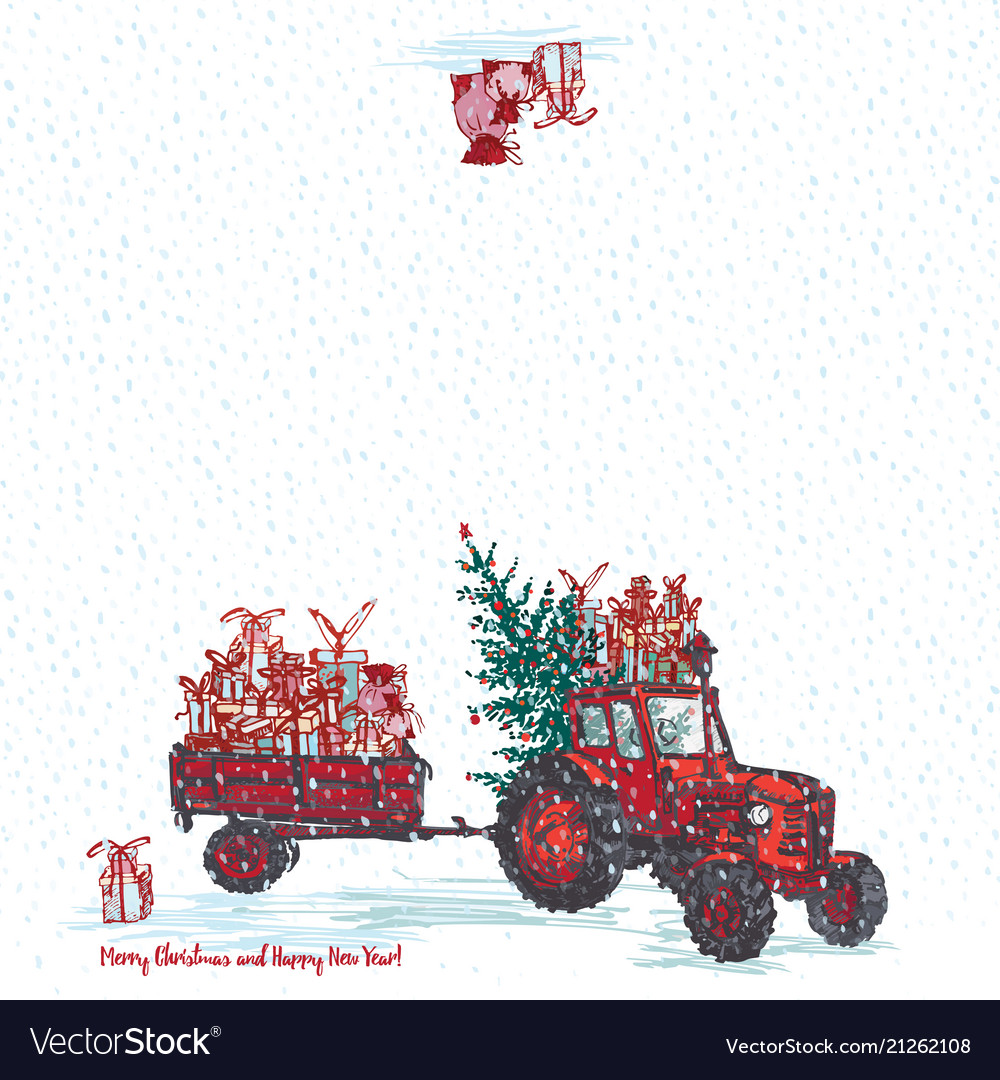 Festive new year 2019 card red tractor with fir