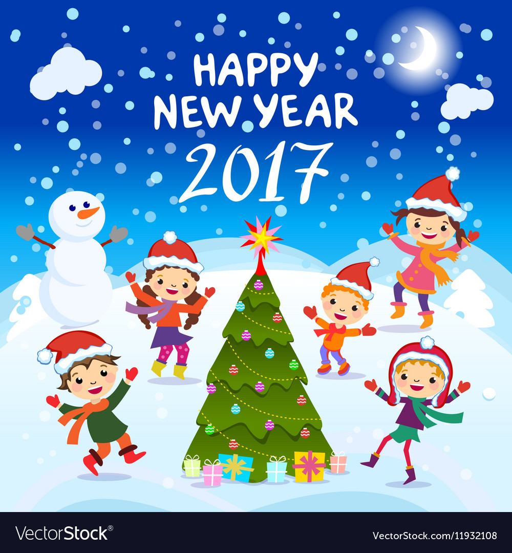Colorful Christmas Background For Kids.Happy New Year 2017 Winter Fun Cheerful Kids