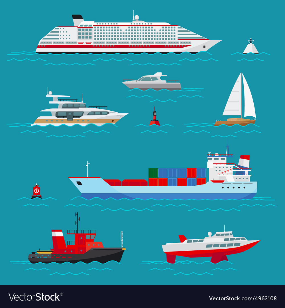 Sea ships flat icons vector image