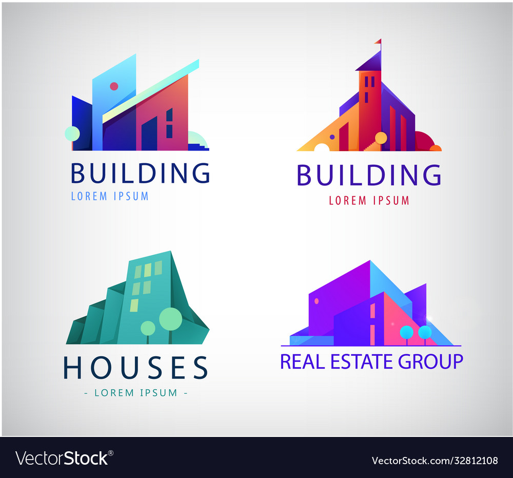 Set colorful real estate logos city and