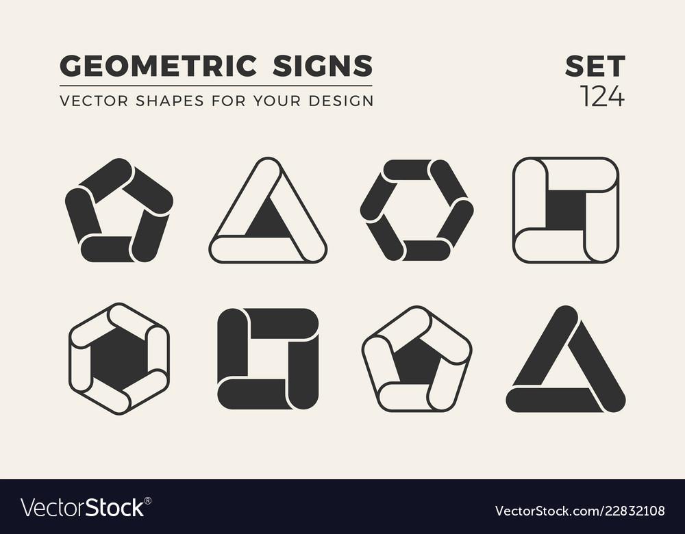 Set eight minimalistic trendy shapes stylish