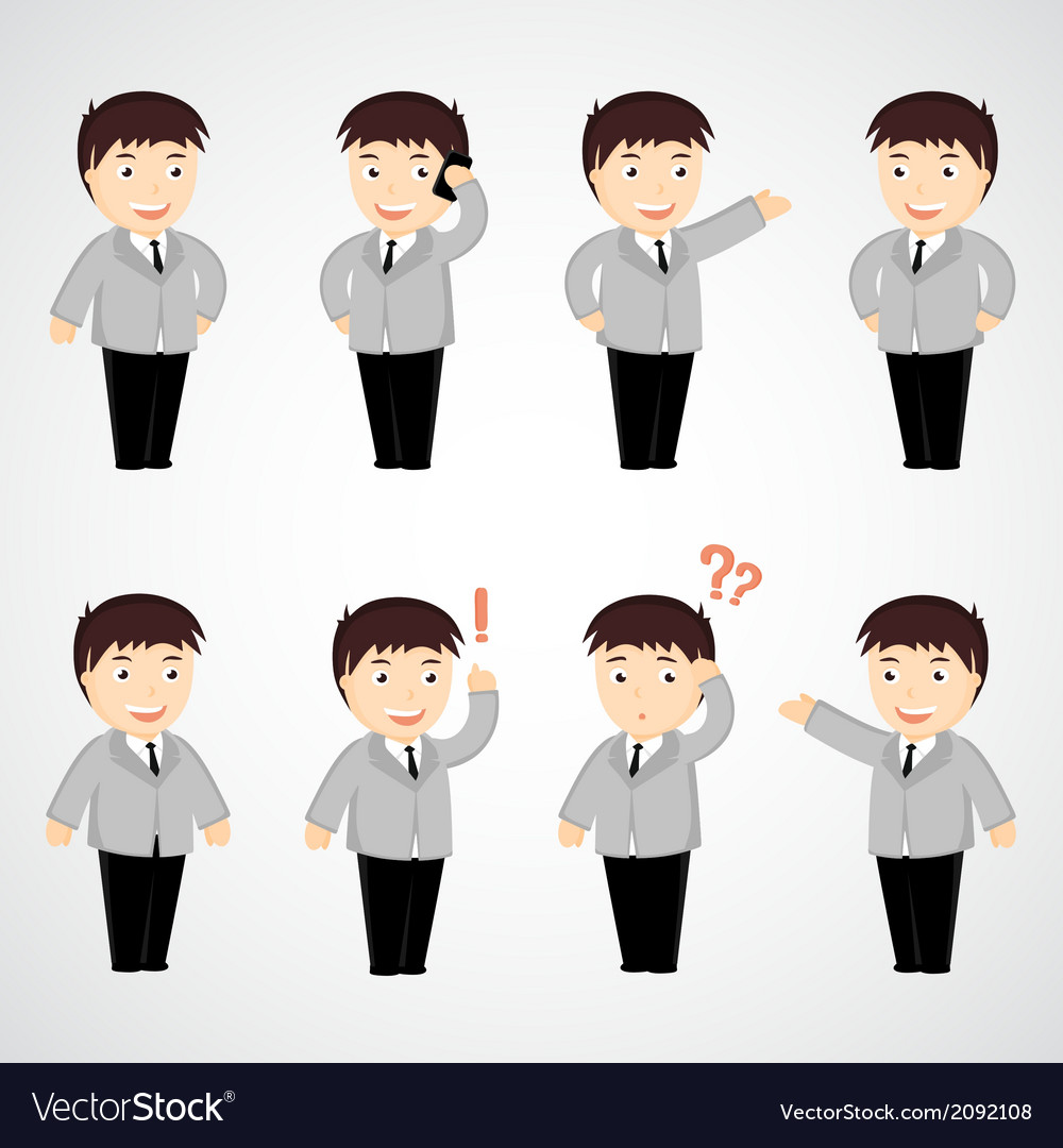 Set of funny cartoon office worker in various pose
