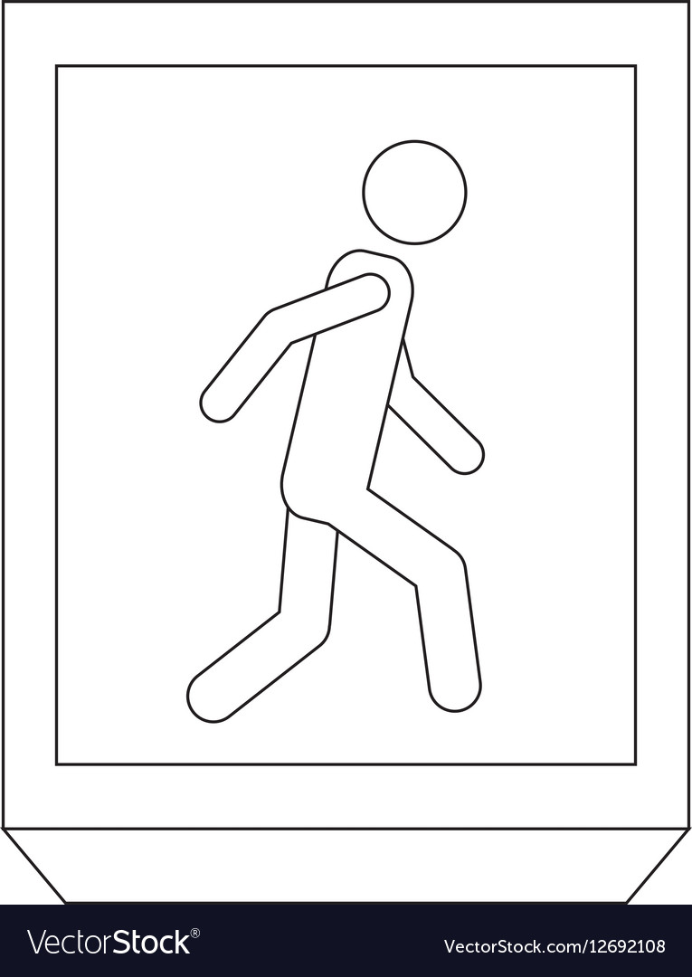 Silhouette rectangle contour with people walk