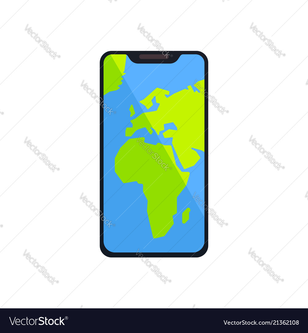 World Map Gps.Smartphone With World Map Gps Navigator On Screen Vector Image