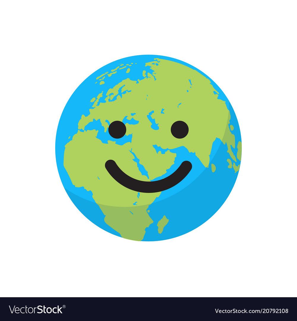 Smiling cartoon flat globe
