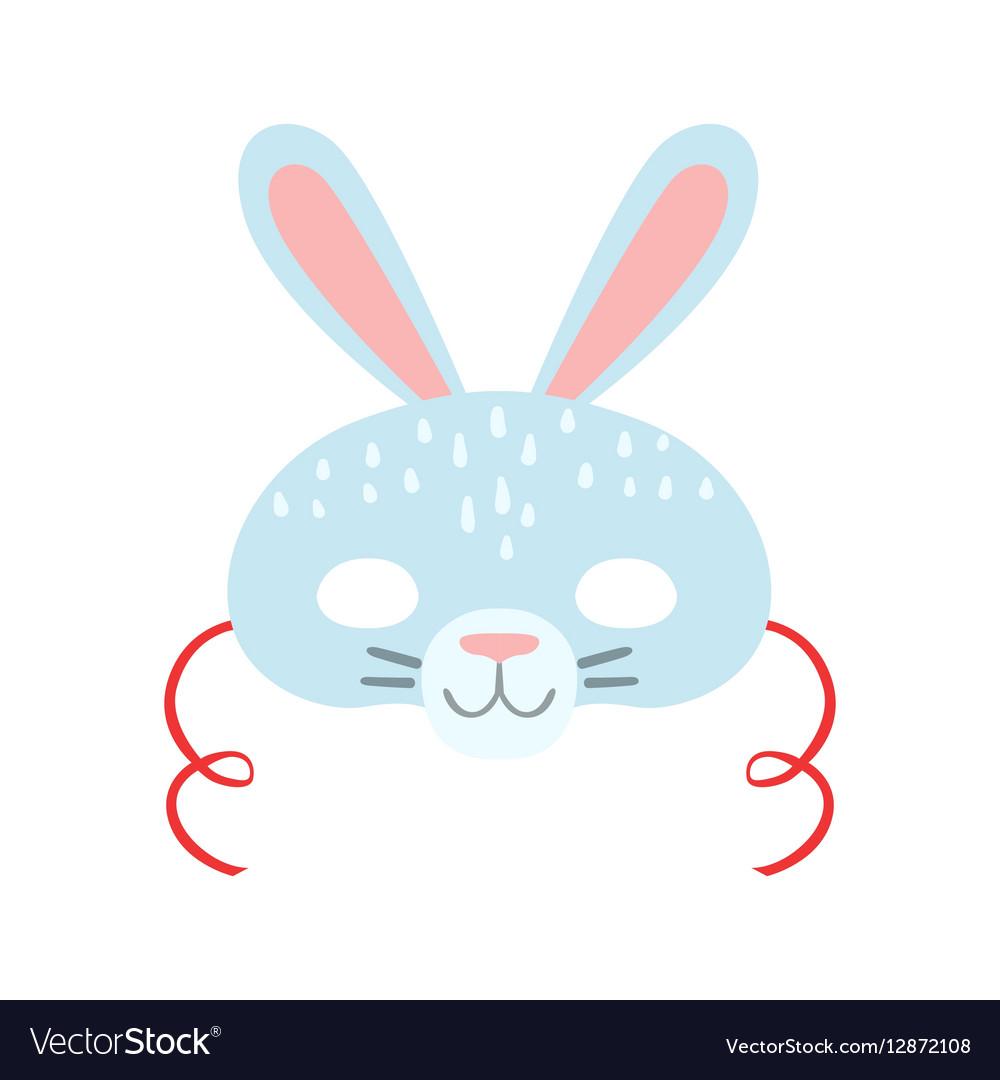 White Rabbit Animal Head Mask Kids Carnival vector image
