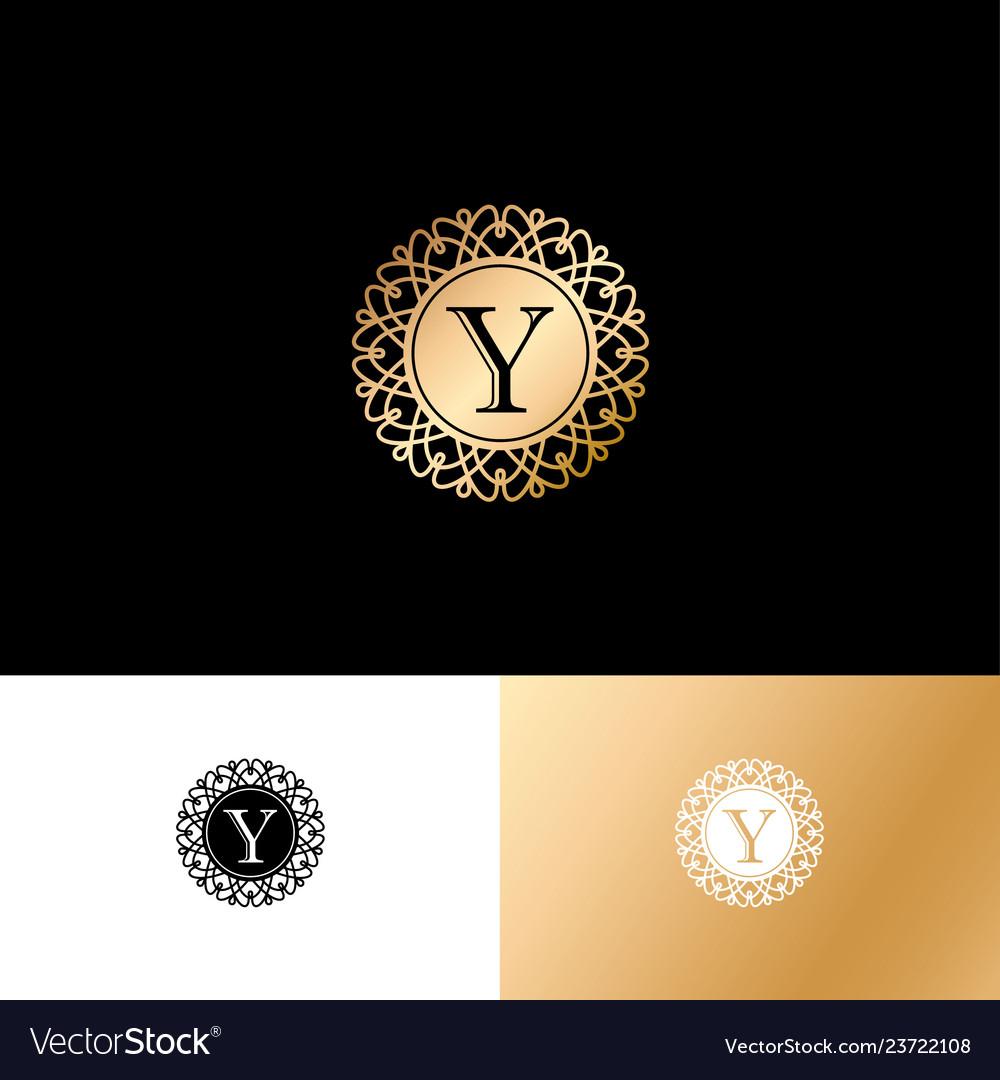 Y gold letter monogram gold circle lace ornament