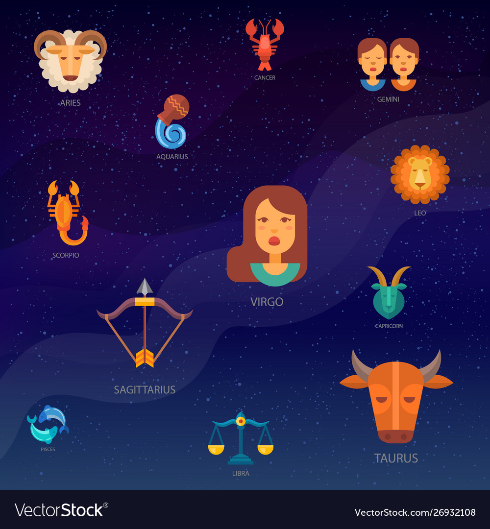 Zodiac signs pattern background with