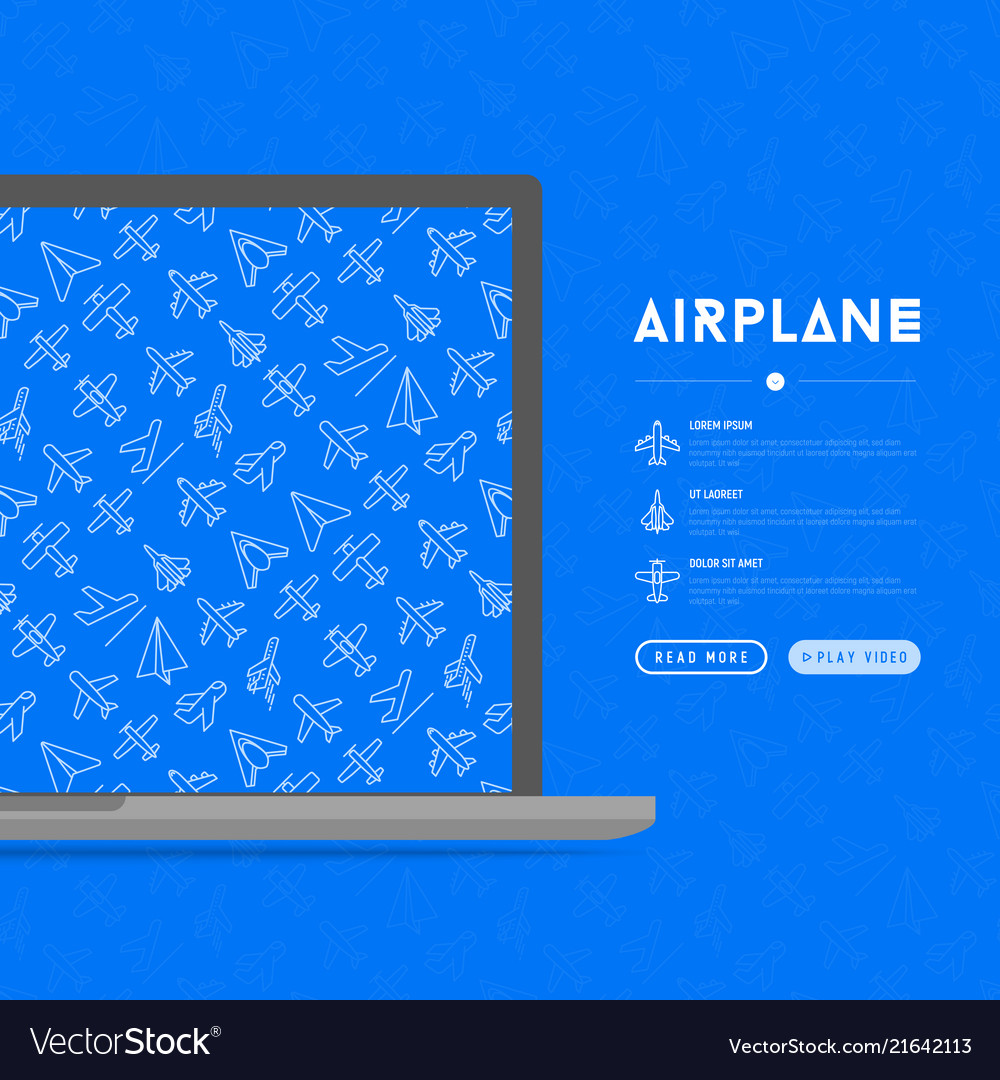 Airplane concept with thin line icons