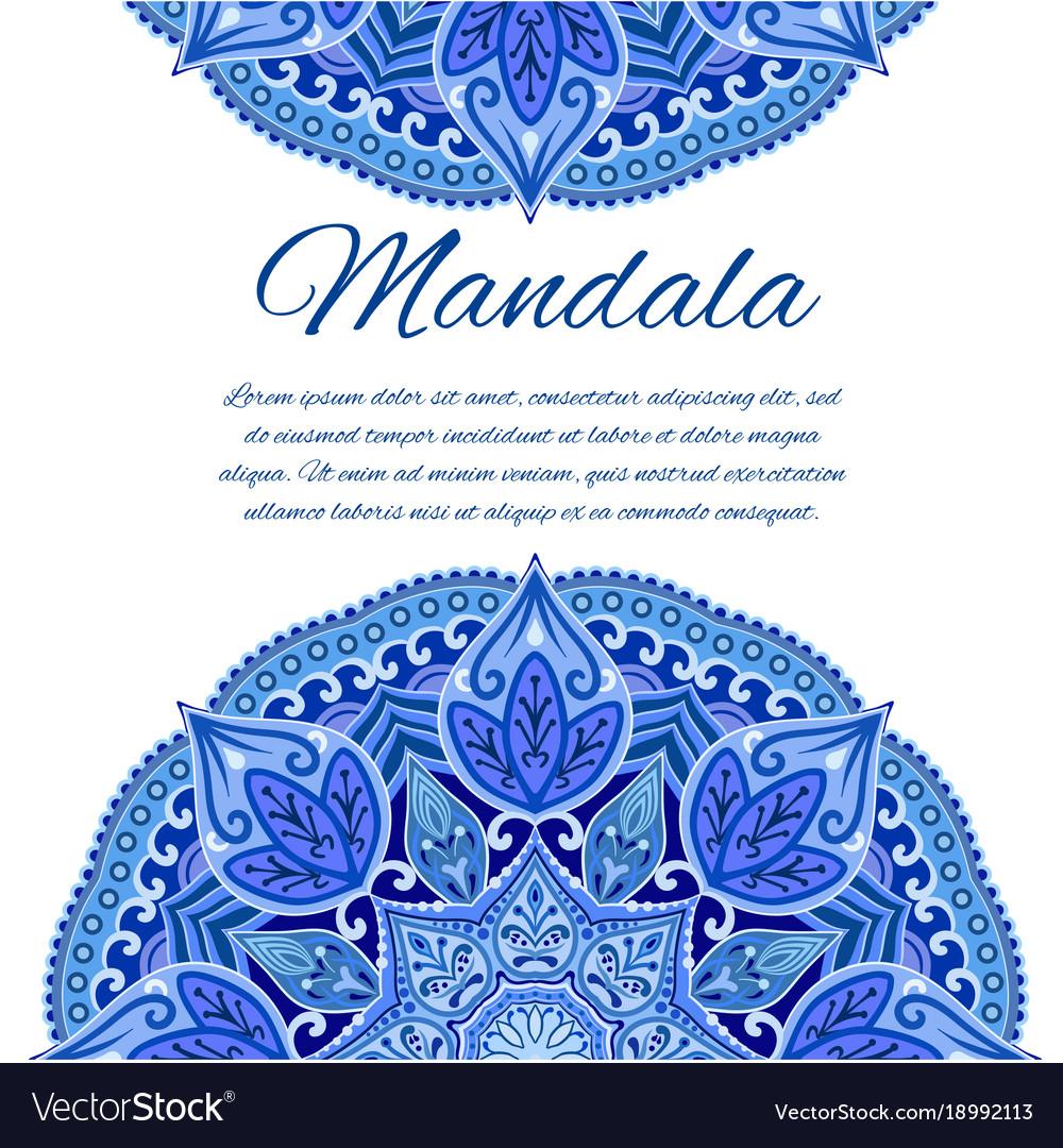 Card with mandala geometric circle element vector image