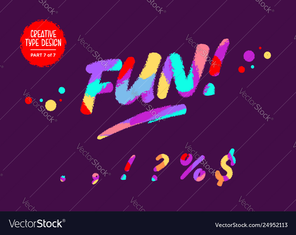 Colourful typeset kids font in cartoon