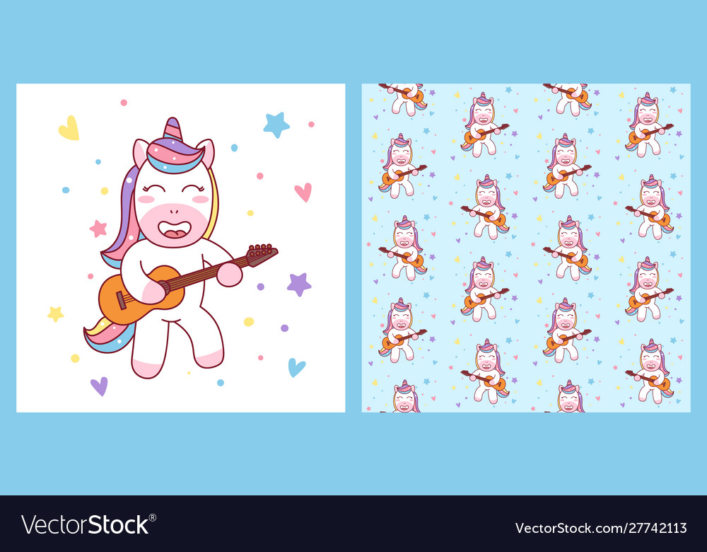 Cute unicorn playing guitar and pattern ready for