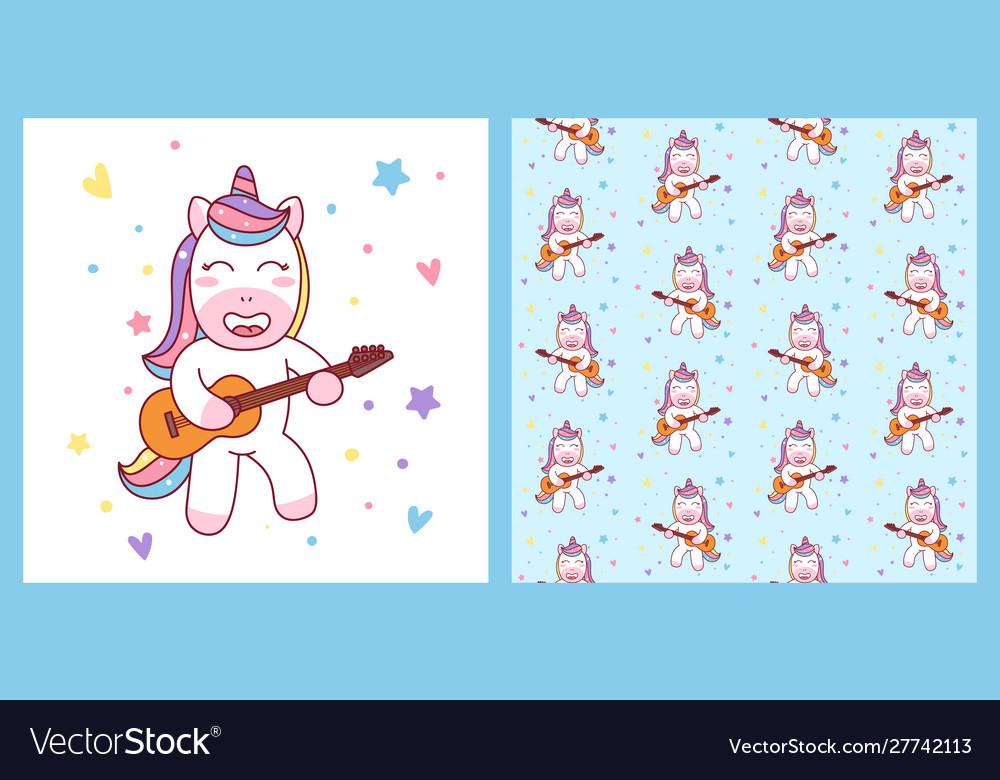 Cute unicorn playing guitar and pattern ready
