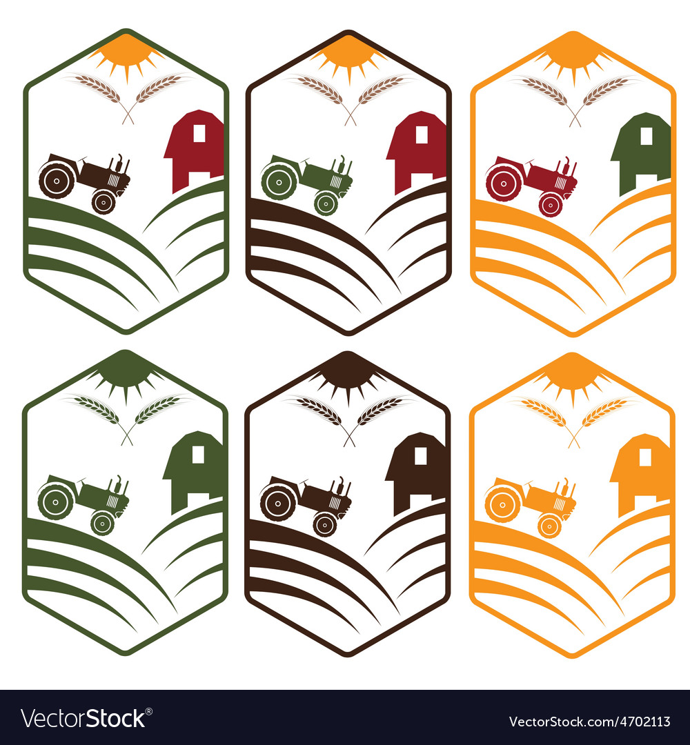 Farm with tractor emblems set