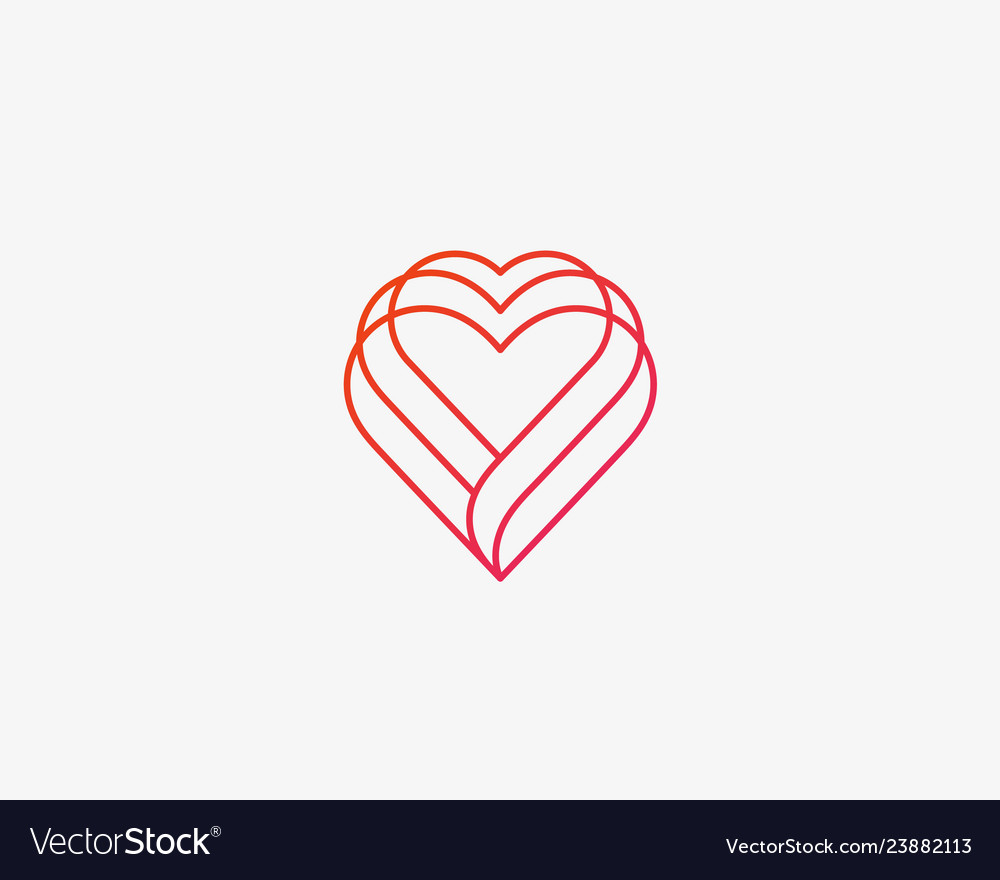 Linear heart logo valentines day medical