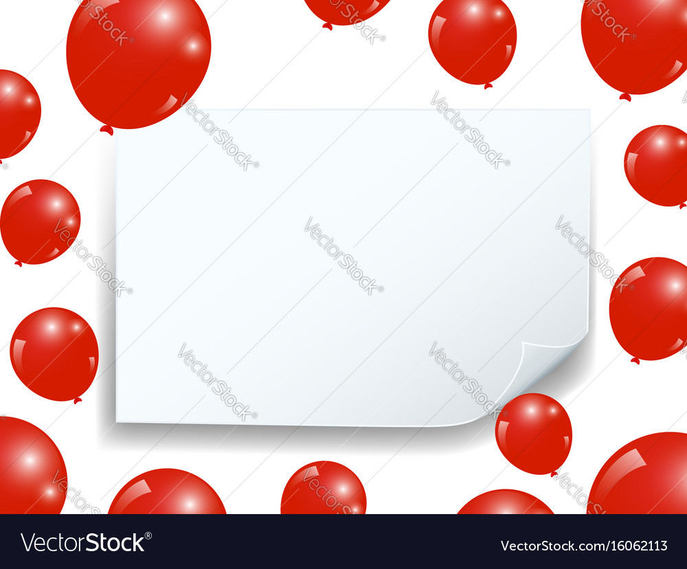Realistic balloons and curved banner celebrate vector image