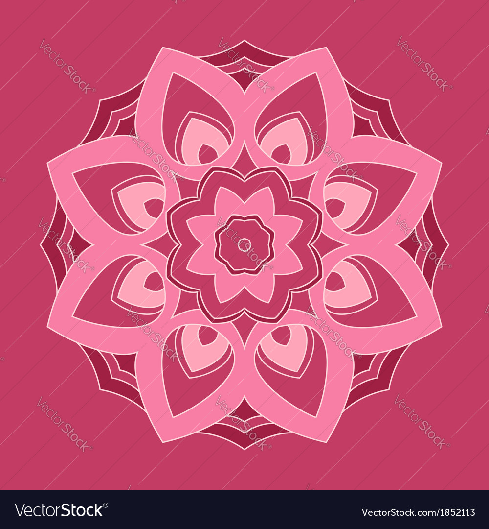 Round Pink Flower Royalty Free Vector Image Vectorstock