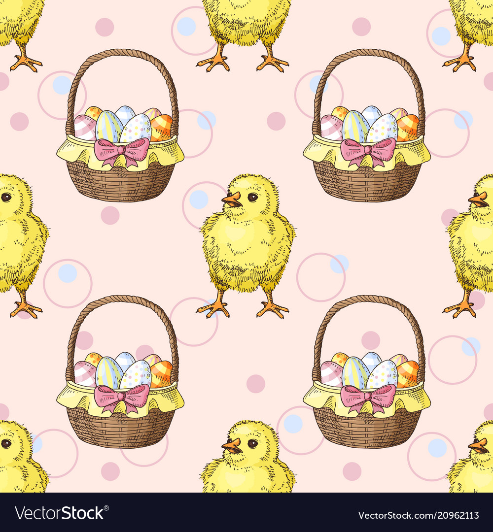 Seamless pattern with easter baskets with eggs and