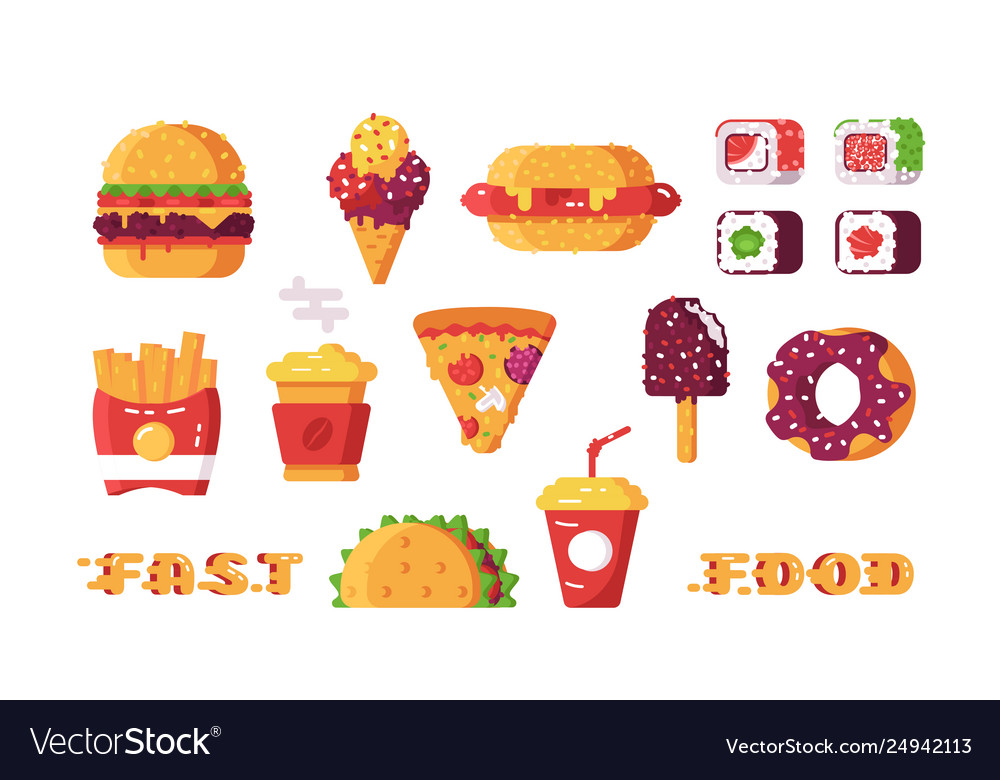 Set various type fast food vector