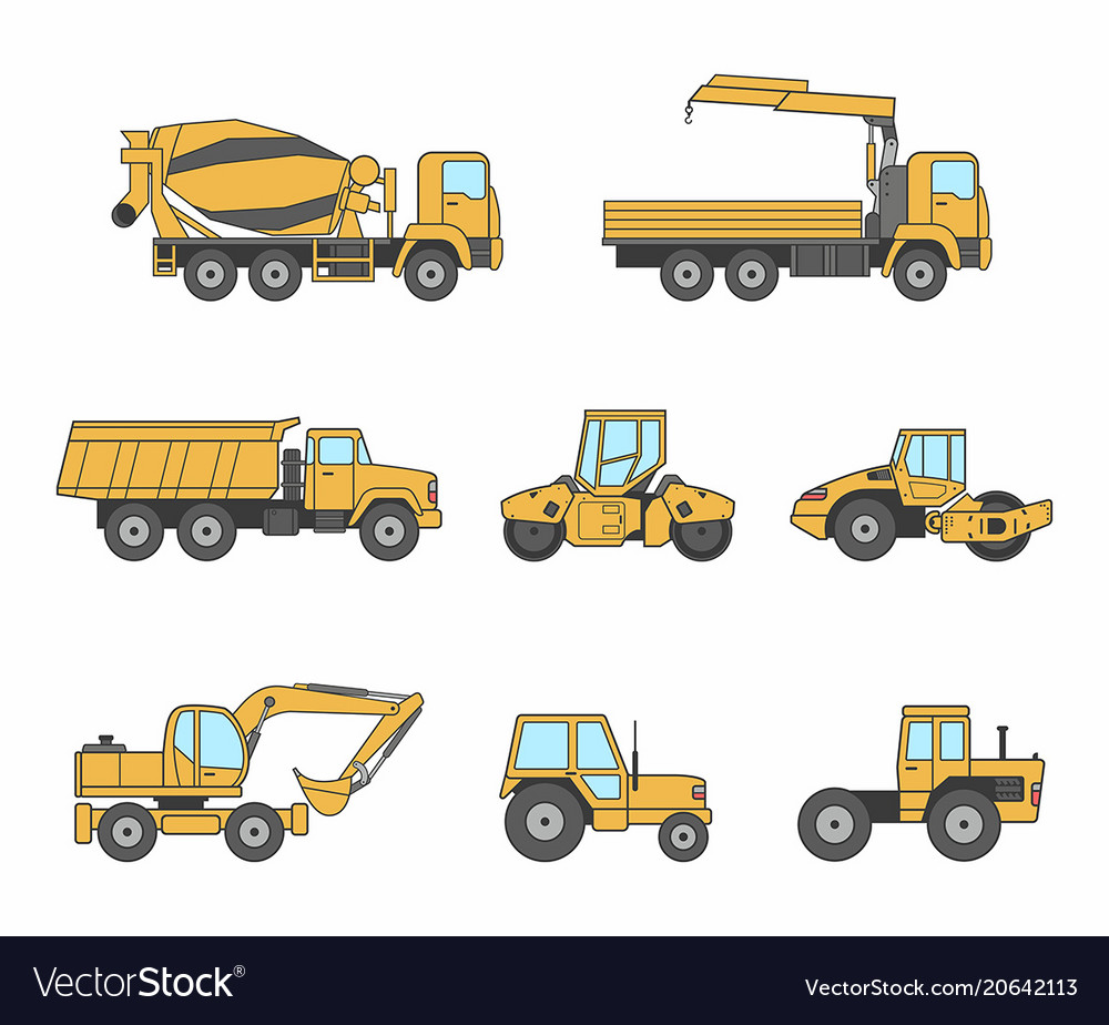 Yellow Construction Machines Icons Set Royalty Free Vector