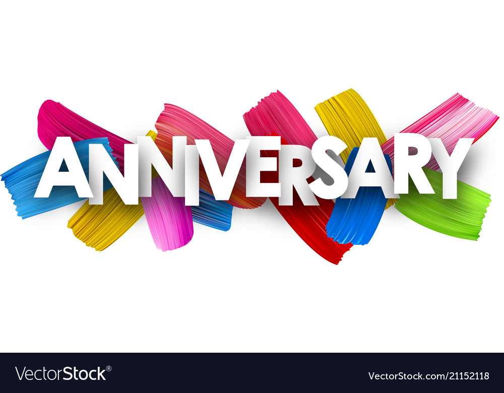 Anniversary banner with brush strokes