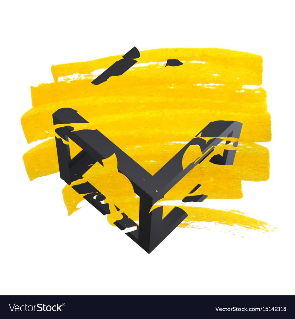 Bright yellow brush stroke hand painted