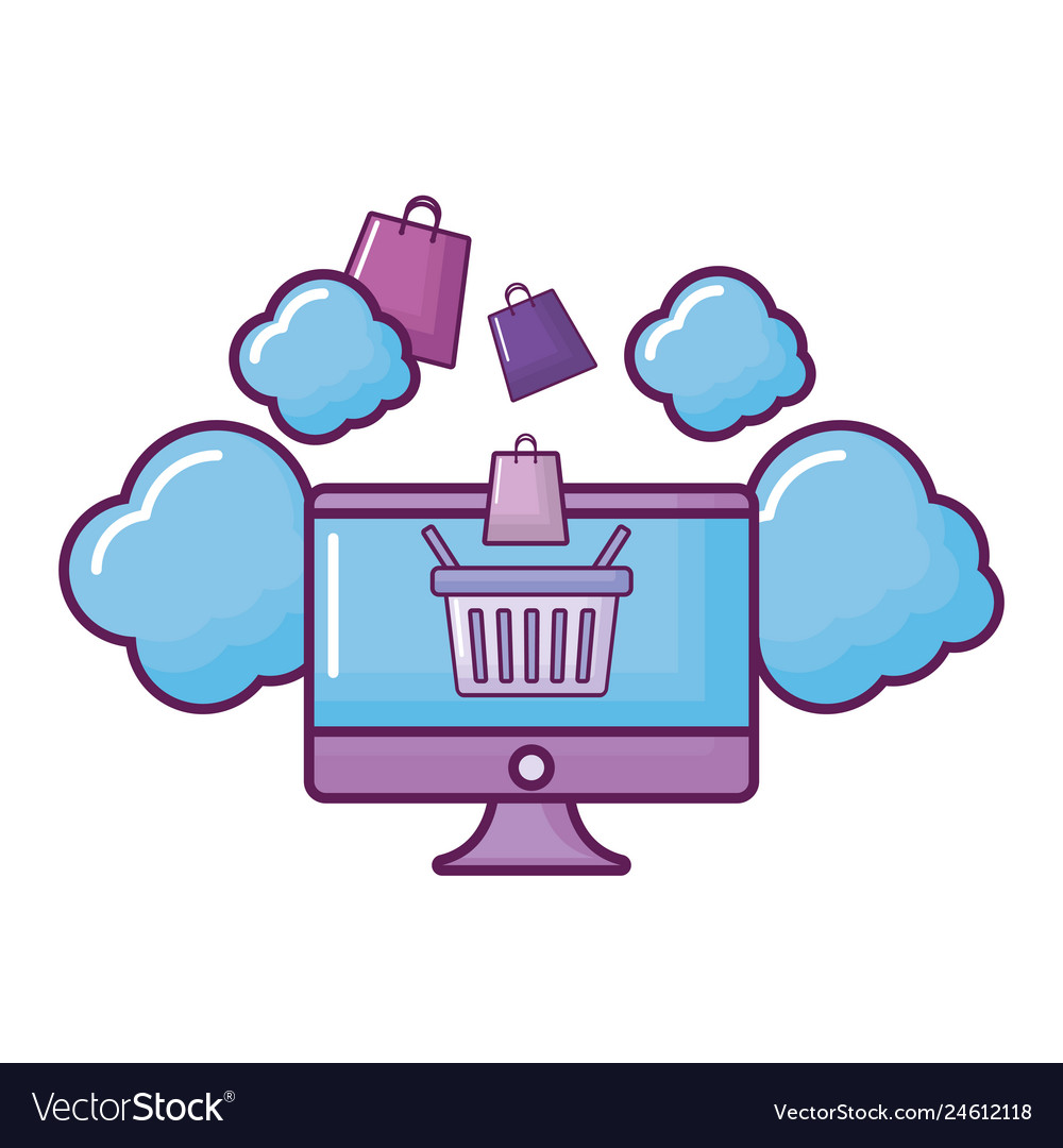 Computer with clouds and shopping basket