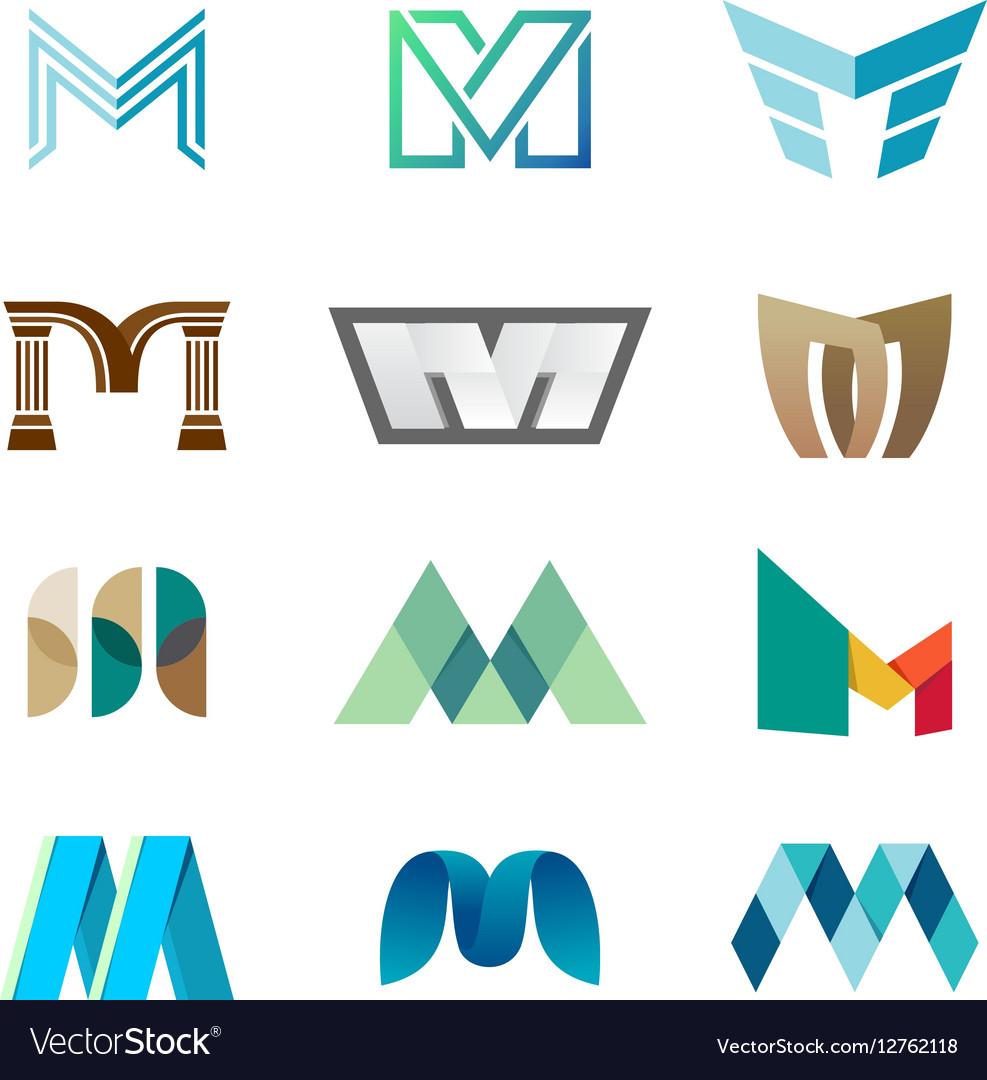 Letter M logo set Color icon templates design Vector Image
