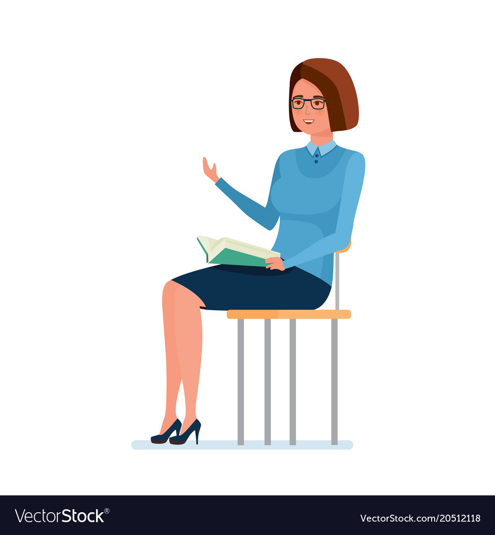 Teacher sitting on chair holding book and