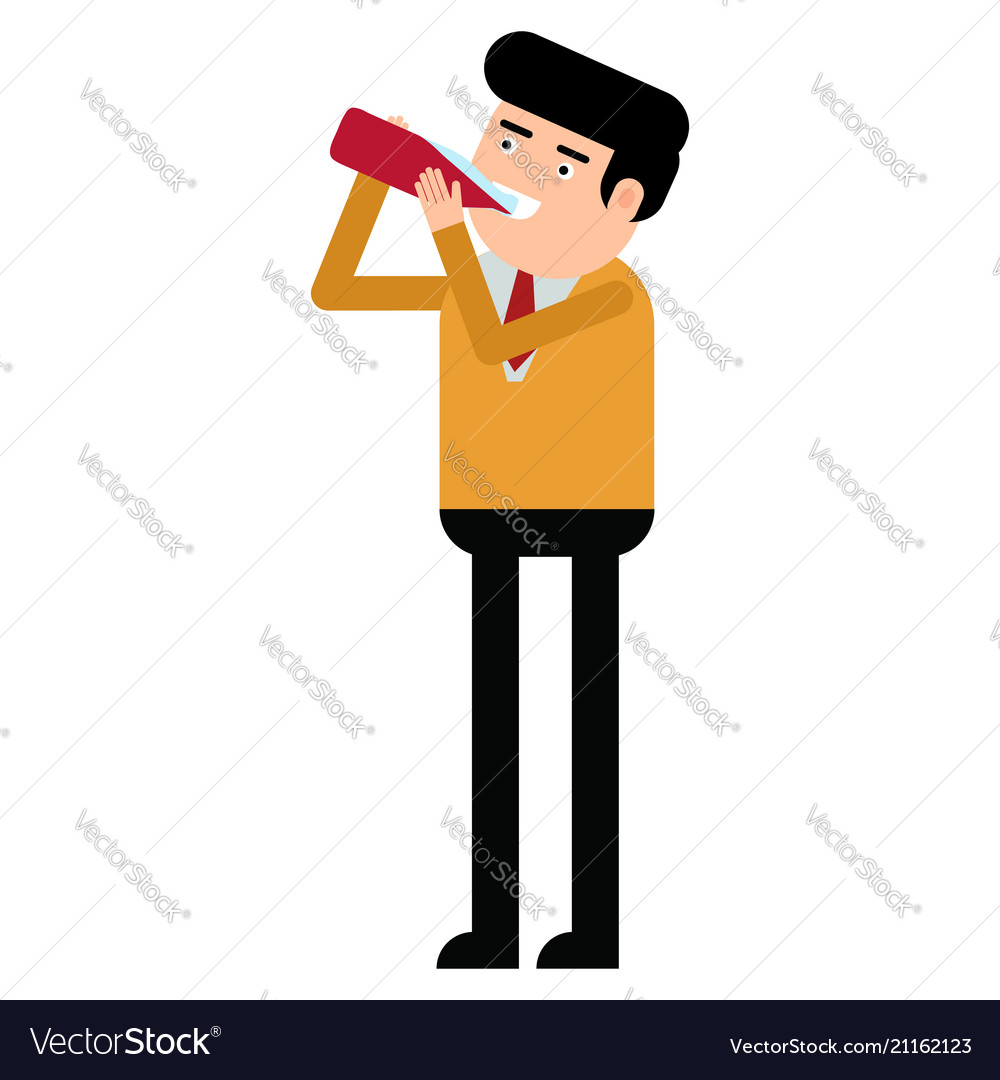 Attractive young man drinking syrup from a bottle