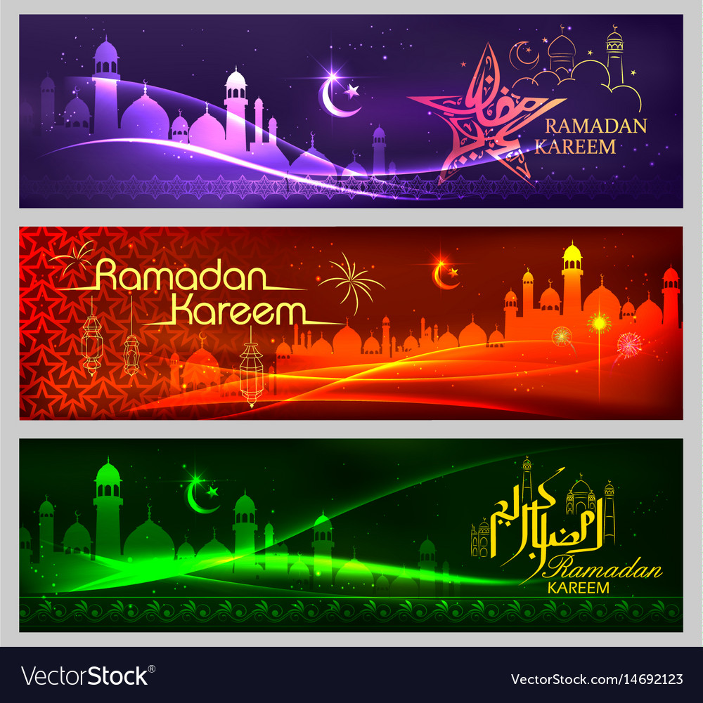 Banner Template For Eid With Message In Arabic Vector Image