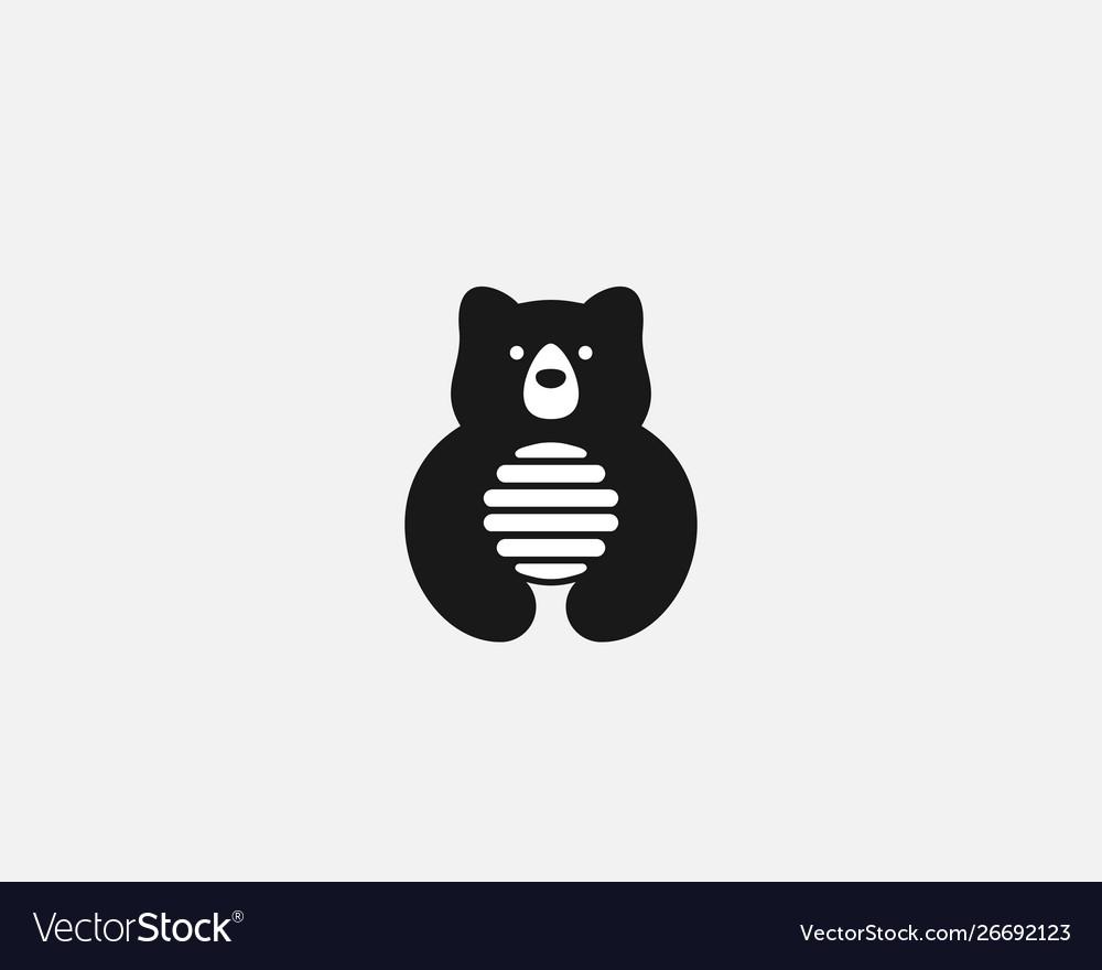 Bear hive in negative space logo nature