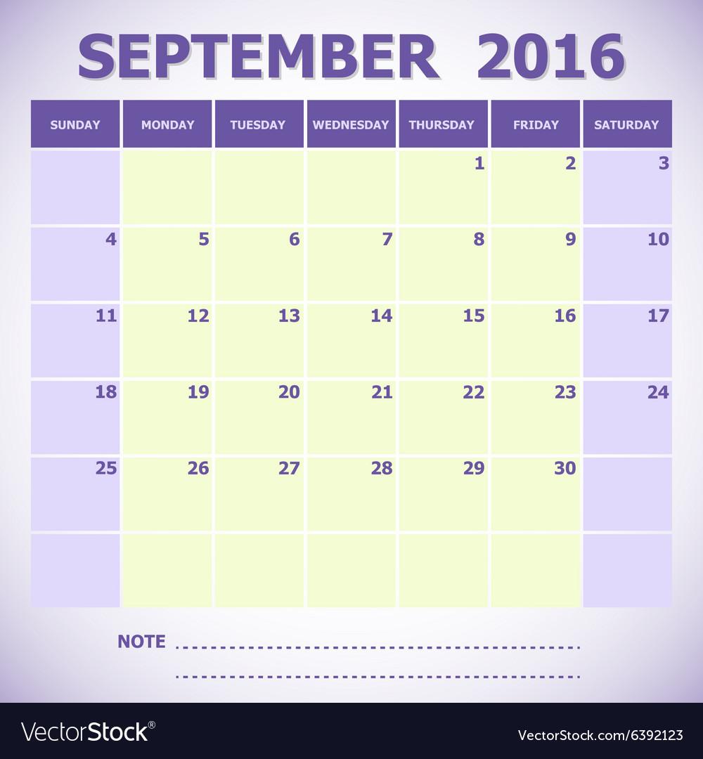 Calendar September 2016 week starts Sunday