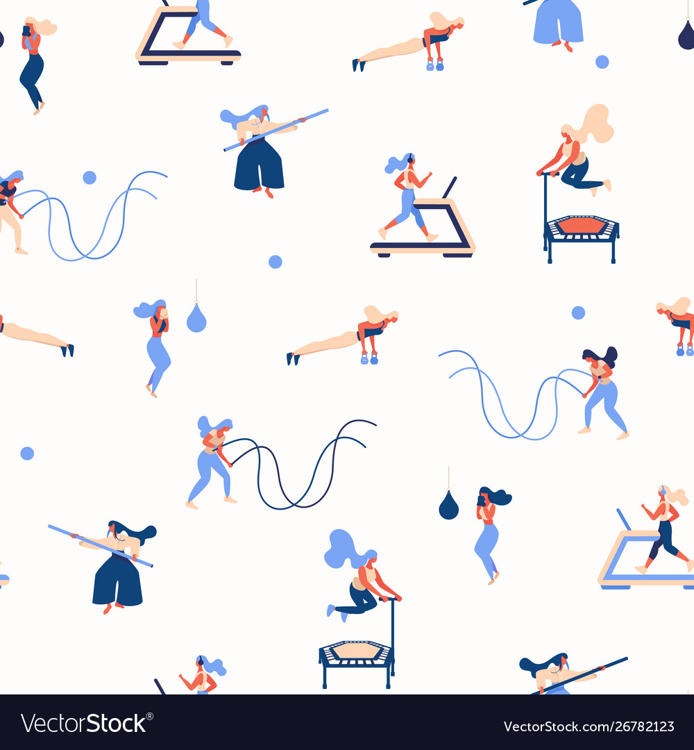 Concept seamless pattern with young women