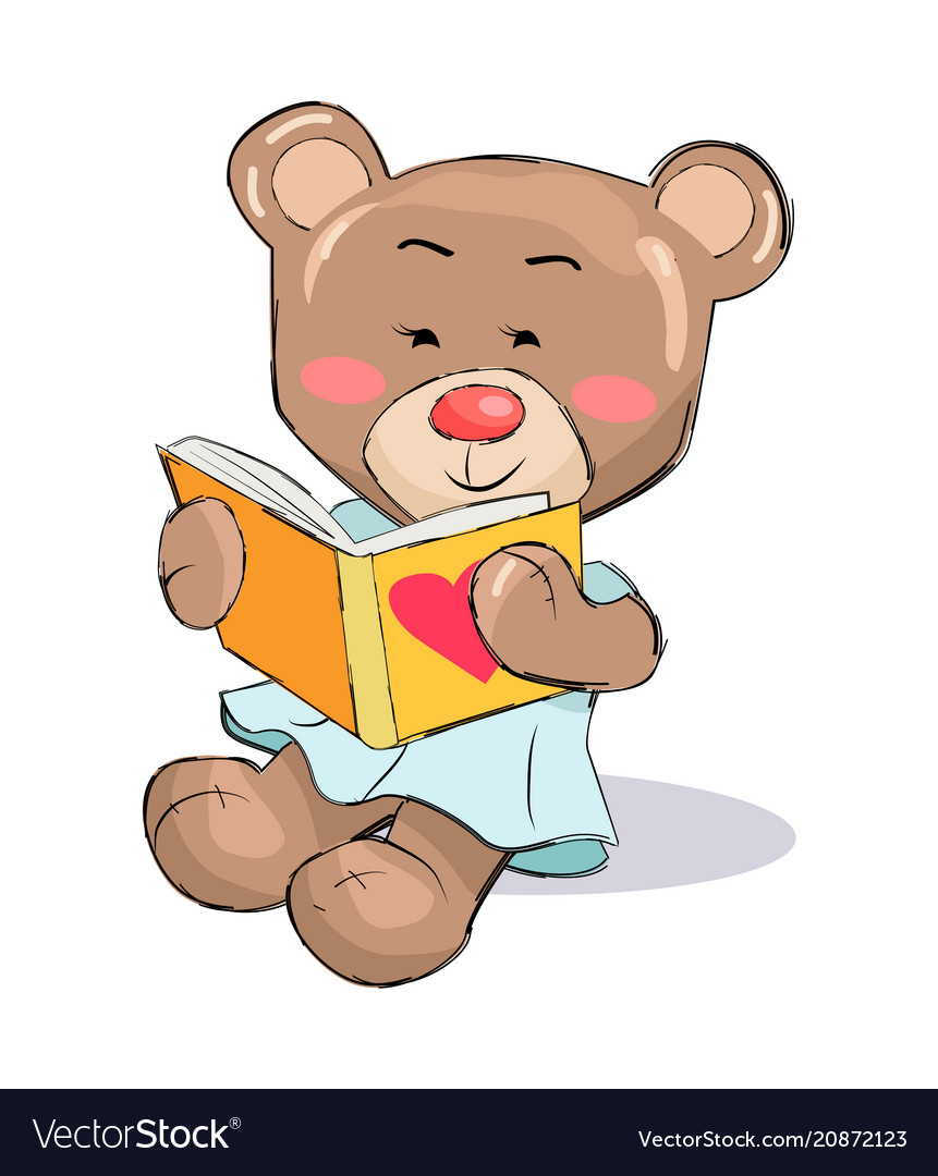 Female Teddy Bear Read Book With Heart Sign