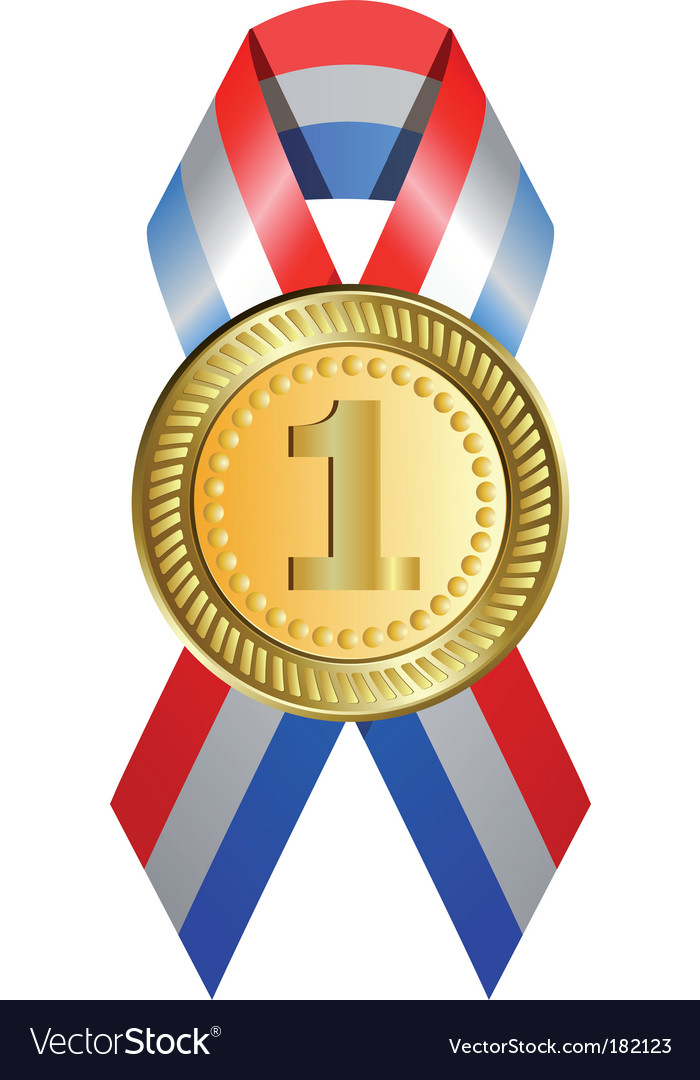 gold medal with ribbon royalty free vector image
