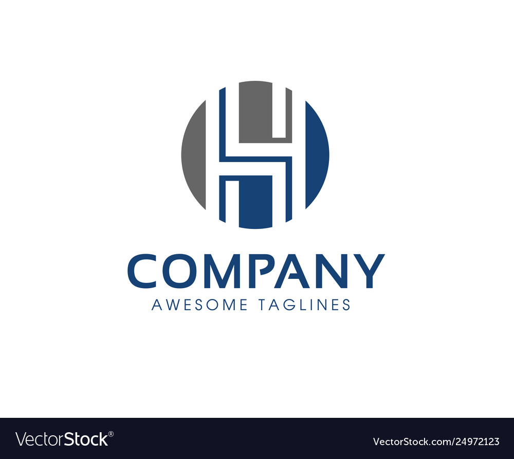 Letter h logo circle modern color