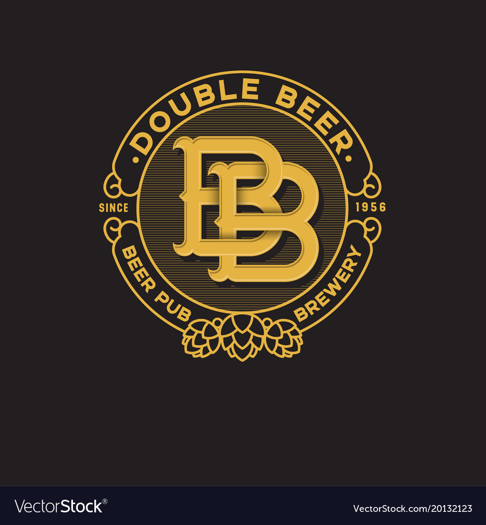 Logo Bb Pub Double B Letter Royalty Free Vector Image